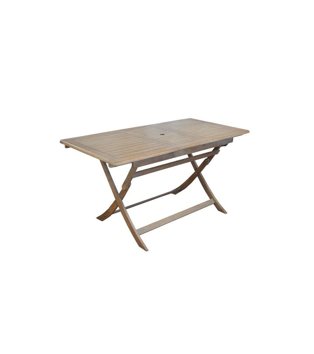 Table de jardin rectangulaire THERIA pliante en robinier cérusé, avec  allonge centrale escamotable